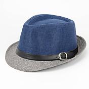 メンズ オールシーズン カジュアル リネン パッチワーク フェドーラ帽