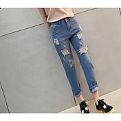 Mujer Casual Tiro Alto Microelástico Pantalones Harén Vaqueros Pantalones,Un Color Algodón Otoño