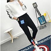 Mujer Sencillo Tiro Medio Microelástico Chinos Pantalones,Corte Ancho Un Color Color puro