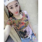 Mujer Simple Casual/Diario Verano Camiseta,Escote Redondo Arco iris Manga Corta Algodón Medio