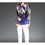 レディース カジュアル/普段着 シャツ,シンプル シャツカラー プリント ポリエステル 長袖 薄手