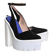 MujerSuelas con luz-Zapatos de taco bajo y Slip-Ons-Informal-PU-Negro Azul Almendra