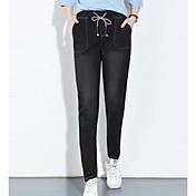 レディース ストリートファッション ミッドライズ ルーズ マイクロエラスティック ジーンズ パンツ ゼブラプリント