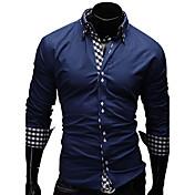 メンズ カジュアル/普段着 ワーク フォーマル プラスサイズ シャツ ソリッド プリント チェック コットン 長袖