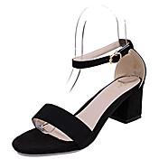 Mujer Zapatos PU Primavera Verano Zapatos del club Sandalias Tacón Cuadrado Puntera abierta Pedrería Hebilla para Vestido Fiesta y Noche