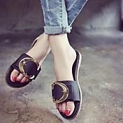 MujerSuelas con luz-Zapatos de taco bajo y Slip-Ons-Informal-PU-Negro Verde