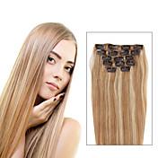 7本/セットp27 / 613混合ストロベリーブロンドのクリップは、髪の拡張子ピアノの色14inch 18inch 100%人間の髪