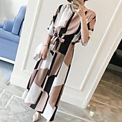 Mujer Recto Vestido Casual/Diario Trabajo Tallas Grandes Vintage Simple Bonito,Geométrico Escote Redondo Maxi Hasta la Rodilla Manga Corta