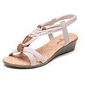 Mujer Zapatos PU Verano Confort Sandalias Tacón Plano / Tacón Bajo Puntera abierta Volantes Negro / Beige
