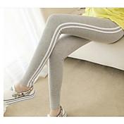 Mujer Medio Rayas Algodón Estampado Legging,Negro Gris