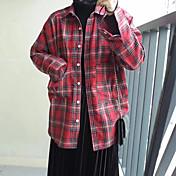 レディース カジュアル/普段着 春 夏 シャツ,シンプル シャツカラー プリント チェック コットン 長袖 薄手