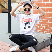 Mujer Simple Noche Casual/Diario Camiseta,Escote Redondo Un Color Manga Corta Poliéster