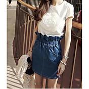 Mujer Simple Casual/Diario Camiseta,Escote Redondo Un Color Manga Corta Algodón Fibra de bambú