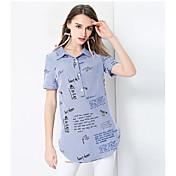 レディース カジュアル/普段着 シャツ,シンプル シャツカラー ソリッド コットン 半袖