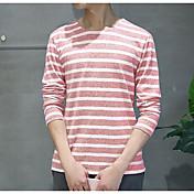メンズ お出かけ Tシャツ,ヴィンテージ ラウンドネック ストライプ コットン 長袖