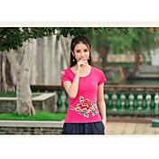 レディース カジュアル/普段着 Tシャツ,セクシー ラウンドネック ソリッド コットン 半袖