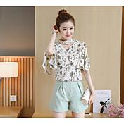 レディース 日常 夏 Tシャツ(21) パンツ スーツ,活発的 クルーネック プリント 半袖