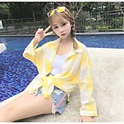 レディース ビーチ 夏 シャツ,シンプル シャツカラー チェック コットン 長袖