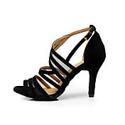 Mujer Latino Zapatillas de Baile Salsa Aterciopelado Sandalia Entrenamiento Principiante Profesional Interior Hebilla Tacón Stiletto Negro