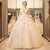 vestido de bola plunging longitud del piso del neckline vestido de boda de Tulle con el rebordear por yuanfeishani
