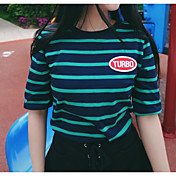 Mujer Simple Bonito Casual/Diario Primavera Verano Camiseta,Escote Redondo A Rayas Estampado Manga Corta Algodón Fino