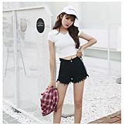 Mujer Sencillo Tiro Medio Microelástico Shorts Pantalones,Perneras anchas Un Color
