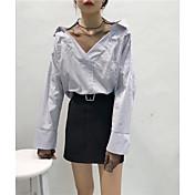 レディース カジュアル/普段着 春 夏 シャツ,シンプル シャツカラー ソリッド ストライプ コットン 長袖 薄手