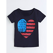 女の子 ジオメトリック コットン Tシャツ 夏 半袖
