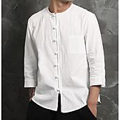 Hombre Simple Tejido Oriental Diario Camisa,Escote Redondo Un Color 3/4 Manga Algodón Lino