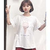 レディース カジュアル/普段着 春 夏 Tシャツ,シンプル キュート ラウンドネック プリント コットン 半袖 薄手