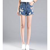 レディース ストリートファッション ミッドライズ ワイドレッグ マイクロエラスティック ジーンズ ショーツ パンツ プリント
