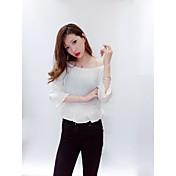 Mujer Simple Casual/Diario Camisa,Escote Barco Un Color Manga Larga Algodón