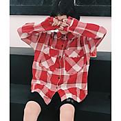 Mujer Simple Casual/Diario Primavera Verano Camisa,Cuello Camisero Estampado Cuadrícula Manga Larga Algodón Fino