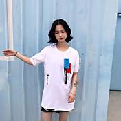 レディース カジュアル/普段着 Tシャツ,シンプル Vネック プリント コットン 半袖