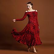 ボールルームダンス ワンピース 女性用 アイスシルク アニマルプリント 長袖 ナチュラルウエスト ドレス