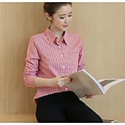 レディース カジュアル/普段着 シャツ,シンプル シャツカラー ストライプ その他 長袖