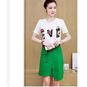レディース 夏 Tシャツ(21) ドレス スーツ ラウンドネック 半袖 マイクロエラスティック