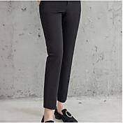 Mujer Casual Tiro Alto Microelástico Corte Ancho Holgado Pantalones,Un Color Algodón Verano