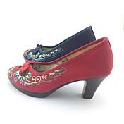 女性用 靴 繊維 春 秋 ヒール チャンキーヒール ポインテッドトゥ ベックル フラワー のために ダークブルー レッド