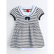赤ちゃん ストライプ コットン ワンピース 夏 半袖