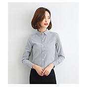 レディース カジュアル/普段着 シャツ,シンプル シャツカラー ストライプ コットン 長袖 薄手