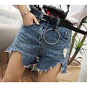 Mujer Sencillo Tiro Alto Microelástico Vaqueros Shorts Pantalones,Perneras anchas Un Color