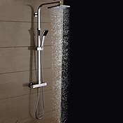 コンテンポラリー シャワーシステム レインシャワー ハンドシャワーは含まれている サーモスタットタイプ セラミックバルブ 二つのハンドル二つの穴 クロム, シャワー水栓