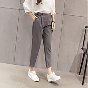 Mujer Casual Tiro Alto Microelástico Ajustado Ajustado a la Bota Delgado Empresa Pantalones,Un Color Algodón Rayón Verano