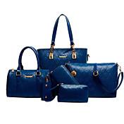 女性 バッグ オールシーズン 牛側 バッグセット 5個の財布セット のために カジュアル ブラック ベージュ ブルー ライトブラウン