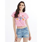 Mujer Camiseta Floral Letra Algodón