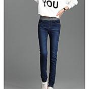Mujer Casual Tiro Medio Microelástico Ajustado Delgado Pantalones,Un Color Verano