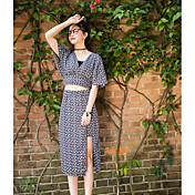 レディース 日常 カジュアル 夏 Tシャツ(21) スカート スーツ,コンテンポラリー Vネック 幾何学模様 半袖