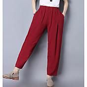 Mujer Sencillo Alta cintura Microelástico Ajustado Pantalones,Pantalones Harén Un Color