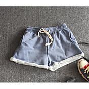 Mujer Casual Tiro Medio Microelástico Holgado Shorts Pantalones,Un Color Verano